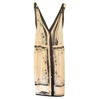 Hermes vintage classic black and white silk scarf dress