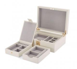 Smythson Grosvenor Jewellery Box with Travel Tray in Chalk