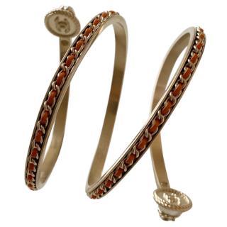 Chanel Gold Tone Leather Chain Trim Wrap Bangle