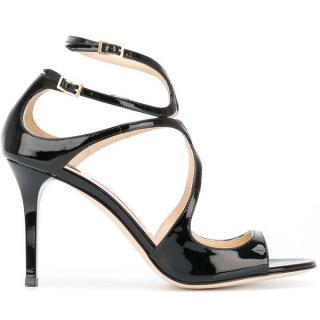 Jimmy Choo Ivette 85 Black Patent Sandals