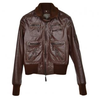 Dondup Brown Leather Biker Jacket