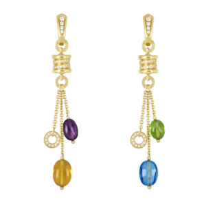 Bvlgari Gemstone Diamond Dangle Earrings