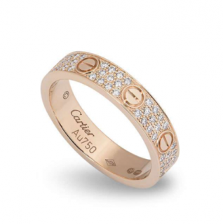 Cartier Diamond Set Love Ring in Rose Gold