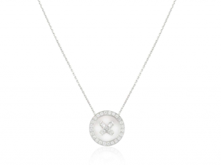 Van Cleef & Arpels White Gold Round Diamond Pendant Necklace