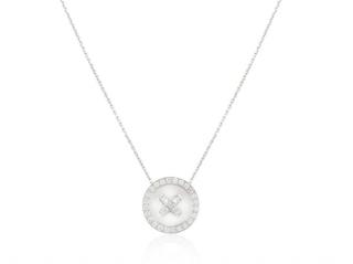 Van Cleef & Arpels White Gold Round Diamond Pendant Necklace