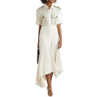 By Malene Birger Cream Asymmetric Midi Skirt
