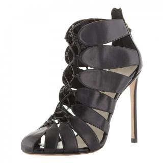 Francesco Russo Lace-Up Cut-Out Ankle Boots