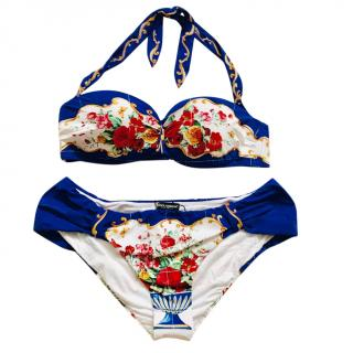 Dolce & Gabbana Majolica Vase Print Halterneck Bikini
