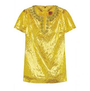 Tory Burch Lola Yellow Brocade Top