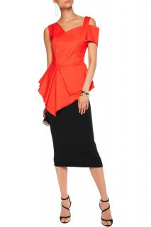 Antonio Berardi Red Peplum Asymmetric Top