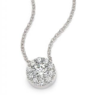 Hearts on Fire 0.65ct Diamond Halo Pendant Necklace