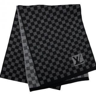 Louis Vuitton Grey/Black Damier Wool Scarf