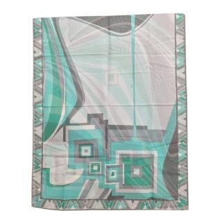 Emilio Pucci Turquoise Silk Printed Scarf