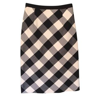 Oscar De La Renta Check Wool Skirt