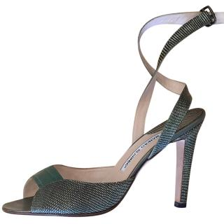 Manolo Blahnik Green Lizard & Croc Embossed Wrap Sandals
