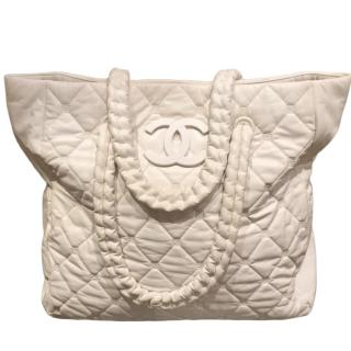 Chanel White Lambskin Tote Bag
