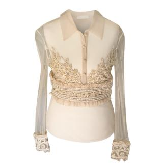 Valentino Cream Sheer Embellished Embroidered Blouse