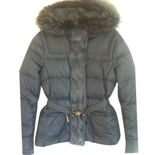 Roberto Cavalli Grey Down Jacket
