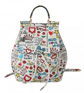 Dolce & Gabbana Sicily Printed White Leather Backpack