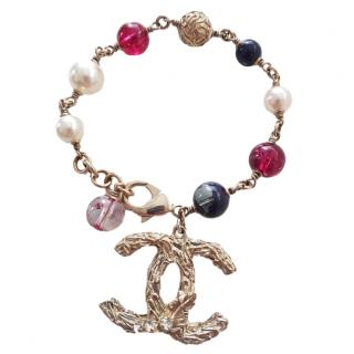 Chanel metal and coloured bead CC bracelet