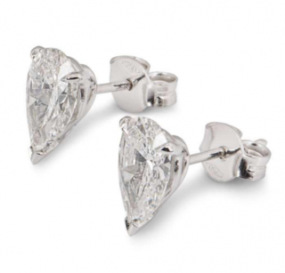 Bespoke White Gold Pear Cut Diamond Earrings