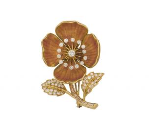 Boucheron Enamel, Platinum, Gold & Diamond Vintage Flower Brooch