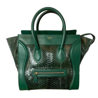 Celine forest green python luggage bag
