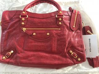 Balenciaga medium red city bag