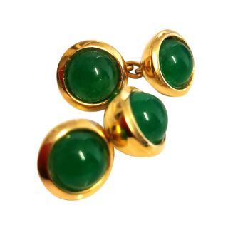 Bespoke cabochon emerald cufflinks