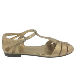 Church's gold hammered leather rainbow sandals