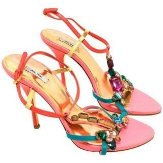 Miu Miu Multicoloured Leather Jewelled Sandals