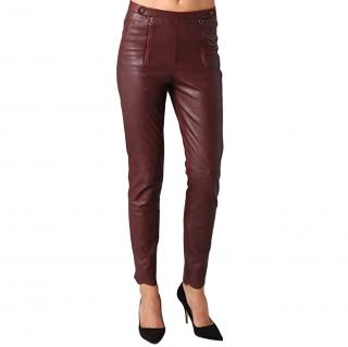 See by Chloe burgundy leather pants