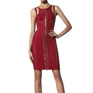 Herve Leger Hayden Red Studded Bandage Dress