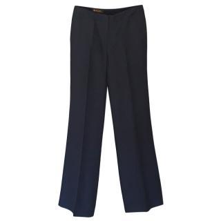 Loro Piana dark blue silk straight cut trousers