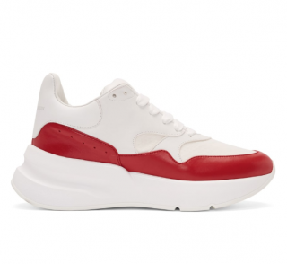 Alexander McQueen White & Red Oversized Runner Sneakers