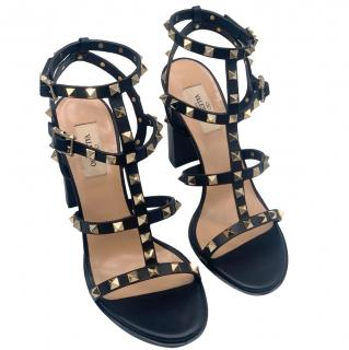 Valentino Black Rockstud Leather Block Heel Sandals