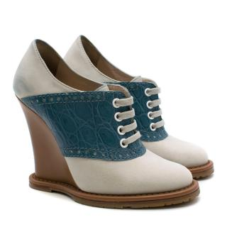 Bottega Veneta Lace-up White Suede &  Blue Embossed Croc Wedges