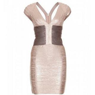 Herve Leger Metallic Rose Gold Bandage Mini Dress
