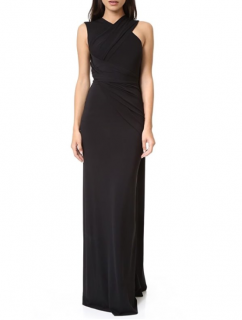 Alexander Wang Black Draped Shawl Cut-Out Back Gown