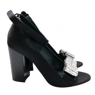 Mulberry Crystal Embellished Block Heel Sandals