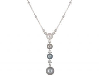 Cartier Diamond and Pearl Drop Necklace
