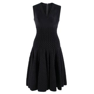 Alaia Black Textured Knit Sleeveless Skater Dress