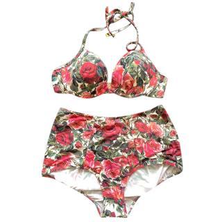 Dolce & Gabbana rose print hot pant bikini