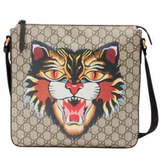 Gucci Angry Cat print GG Supreme flat messenger Bag