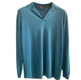 Loro Piana turquoise cotton long sleeved polo shirt