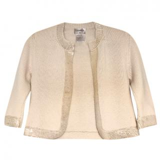 Chanel cream wool sequin trim short cardigan