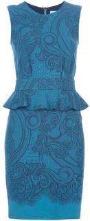 Pucci teal fitted peplum dress