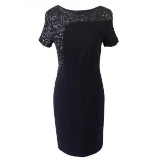 Talbot Runhof fitted navy blue dress