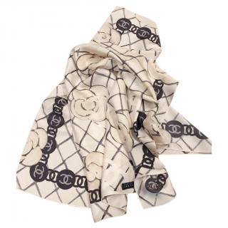 Chanel camellia print silk scarf