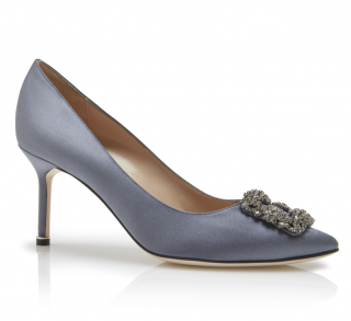 Manolo Blahnik Dark Grey Satin Hangisi 70 Pumps
